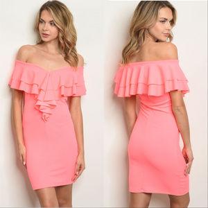 Dresses & Skirts - NEON BODYCON RUFFLE OFF SHOULDER DRESS